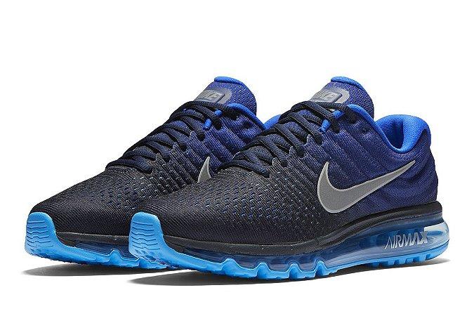 442fbbe9dca Tênis Nike Air Max 2017 azul escuro com preto masculino sob encomenda
