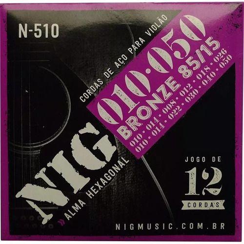 Encordoamento Para Violão Aço 12 Cordas 010 Nig N510