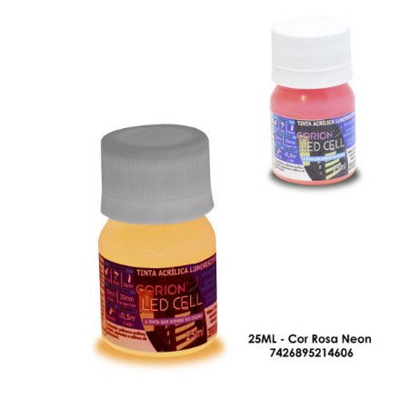 Tinta Glow 25ML - Cor Rosa Neon - Brilha No Escuro Sem Luz Negra