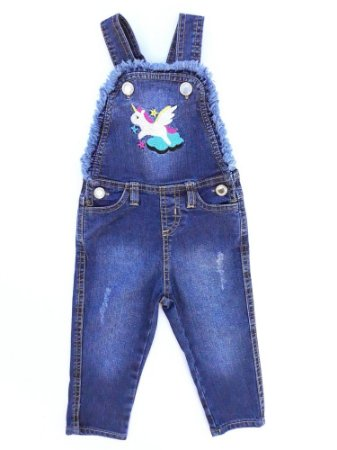 Jardineira Infantil Jeans Unicórnio - Menina