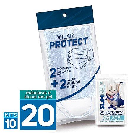 Polar Protect | Kit com 02 Máscaras Descartáveis em TNT e 2 Sachês de Álcool em gel 3ml