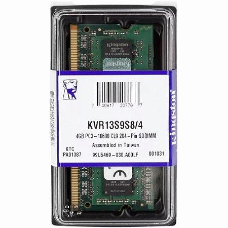 Memória Notebook 4GB DDR3 1333MHZ / PC3 10600 204 Pinos Kingston