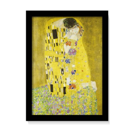 Quadro Decorativo Gustav Klimt O Beijo 1907 Obra C/ Vidro