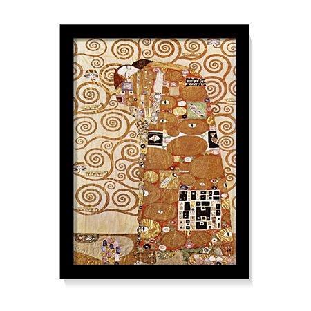 Quadro Decorativo Pintura Gustav Klimt O Abraço C/ Vidro