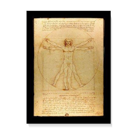 Quadro Decorativo Homem Vitruviano Da Vinci 1490 C/Vidro