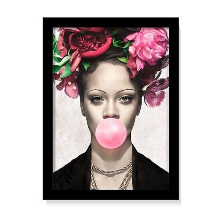 Quadro Decorativo Rihanna Rosas Art Poster Sala C/Vidro