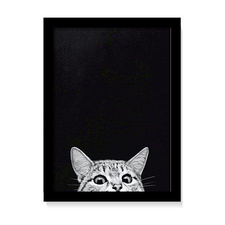 Quadro Decorativo Gato Fofo Para Sala Com Vidro