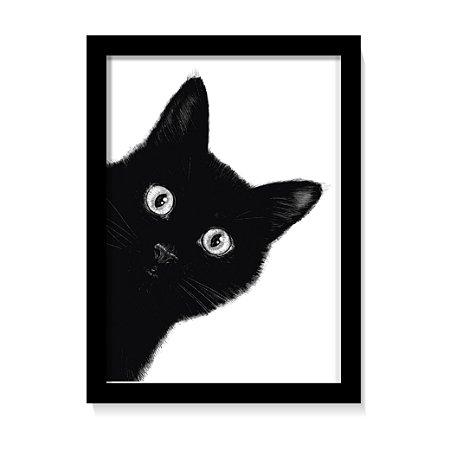 Quadro Decorativo Gato Preto Fofo Para Sala Com Vidro