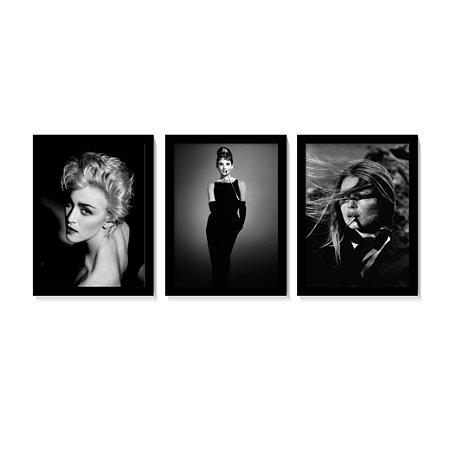 Kit 3 Quadros Madonna Audrey Hepburn Brigette