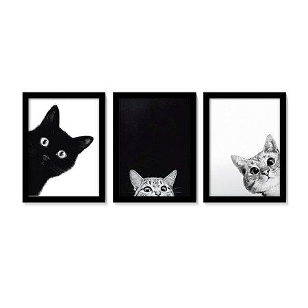 Kit 3 Quadros Gatos Preto e Branco Pets