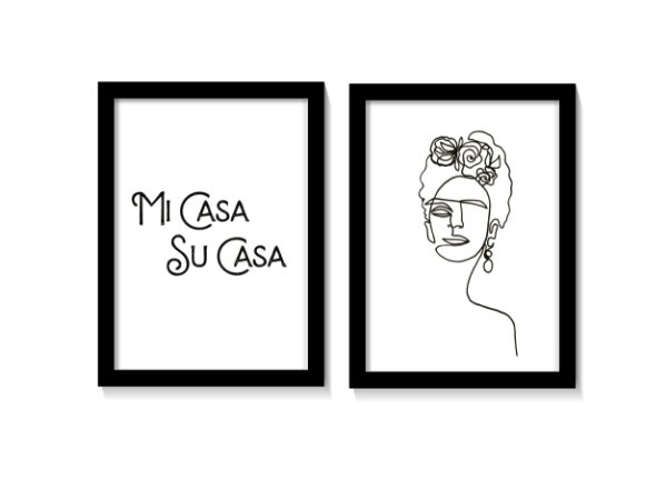 Kit 2 Quadros Mi Casa Su Casa - Frida Kahlo