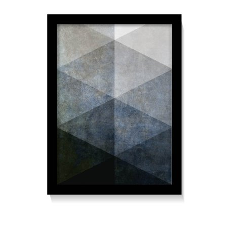 Quadro Geométrico Tons Azul Minimalista