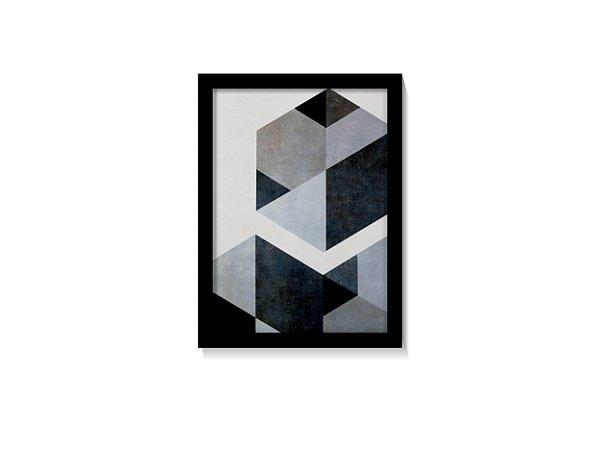 Quadro Geométrico Tons Azul Mármore Minimalista