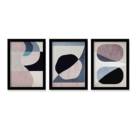 Kit 3 Quadros Abstratos Rosé