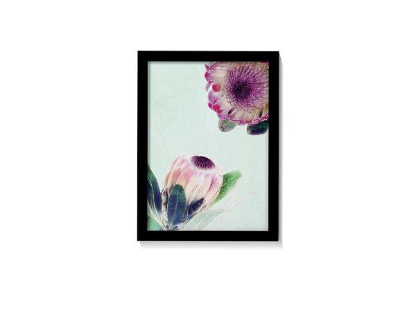Quadro Flor Prótea Tons Verde Azulado II