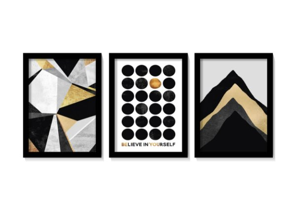 Kit 3 Quadros Black Gold Believe In Yourself
