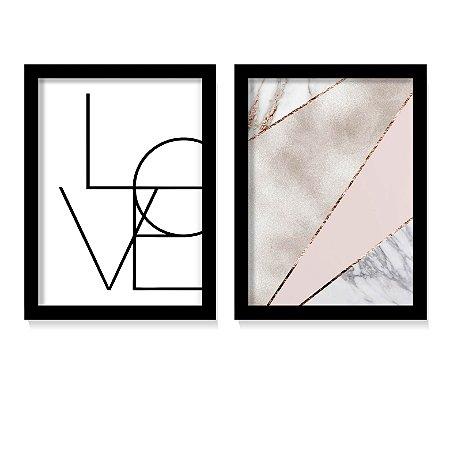 Kit 2 Quadros Elegance Love Rose Gold