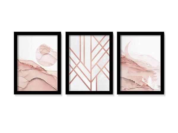 Kit 3 Quadros Elegance Rose Gold Lines