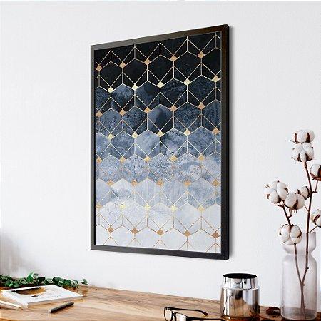 Quadro Elegance Blue & Gold Hex