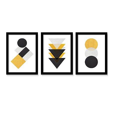 Kit 3 Quadros Geométricos Amarelo & Preto