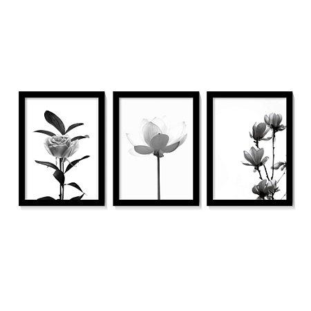 Kit 3 Quadros Flores Botânico Preto e Branco