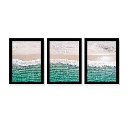 Kit 3 Quadros Clean Beach