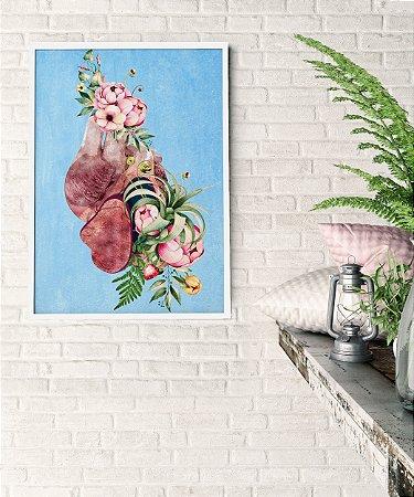 Quadro Coração Floral