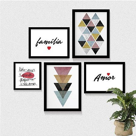 Kit 5 Quadros - Família Amor Geometric Art