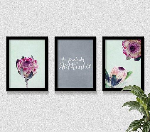 Kit 3 Quadros Protea Flower Be Authentic
