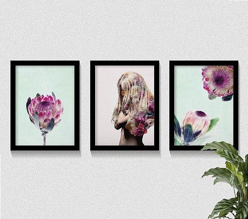 Kit 3 Quadros Woman Protea Flower