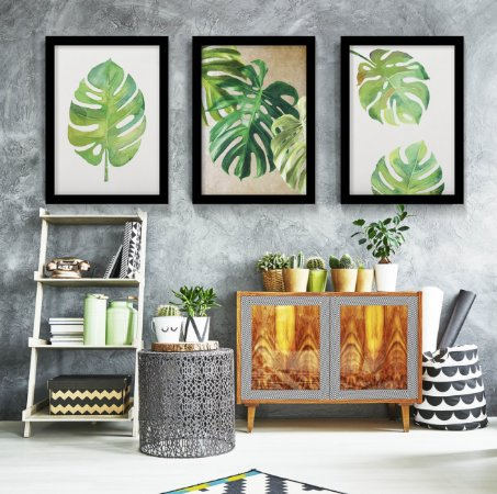 Kit 3 Quadros Monstera Leaf Pastel