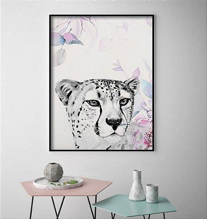 Quadro Leopardo Aguarela