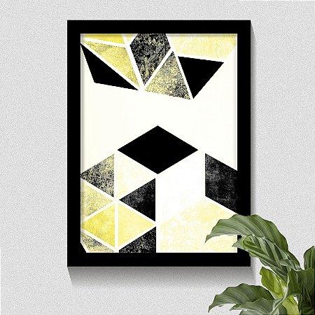 Quadro Geométrico Losango Tons Amarelo & Preto