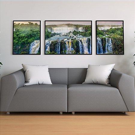 Composição 3 Quadros Cachoeira Panorâmica Minimalista