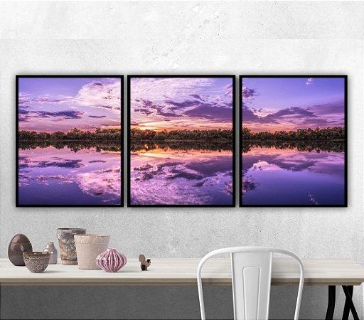 Composição 3 Quadros Lake Sunset Modern Art