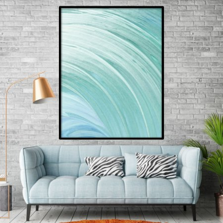 Quadro Abstrato Ondas Tons Azuis