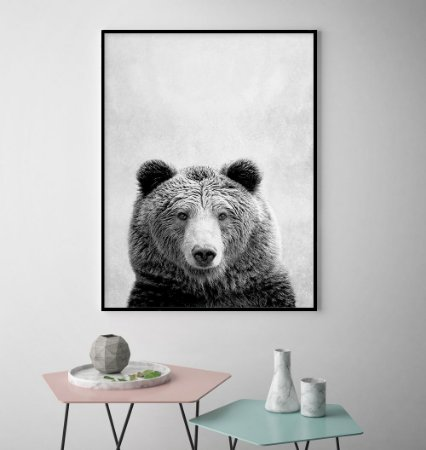 Quadro Bear Black And White