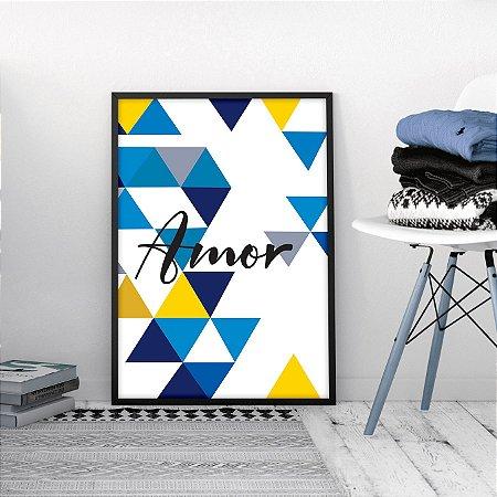 Quadro Amor Geométrico Azul