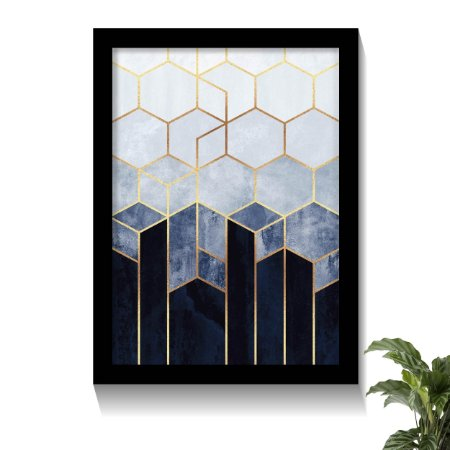 Quadro Geométrico Sextavado Azul Ouro