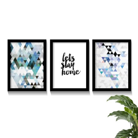 Conjunto Quadros Mosaico Stay Home