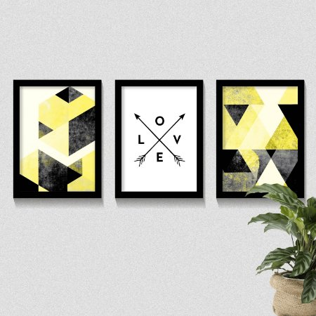 Conjunto Quadros Geométrico Tons Amarelo Love