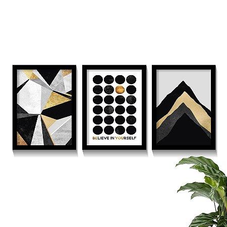 Conjunto Quadros Abstratos Dourado Believe In Yourself