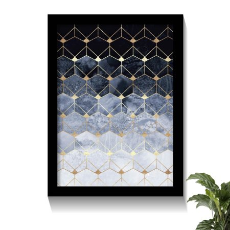 Quadro Elegance Blue & Gold Hex