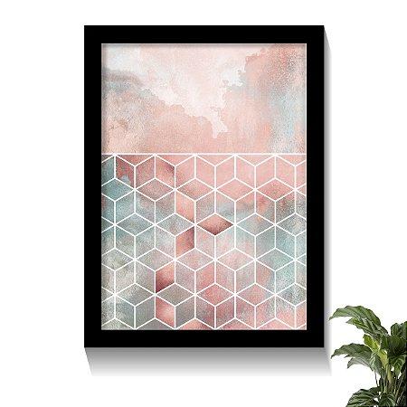 Quadro Cubos & Nuvens Rose Geométricos
