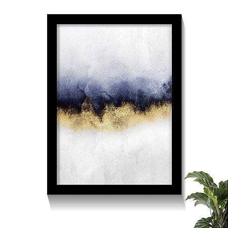 Quadro Abstrato Art Céu Azul e Dourado