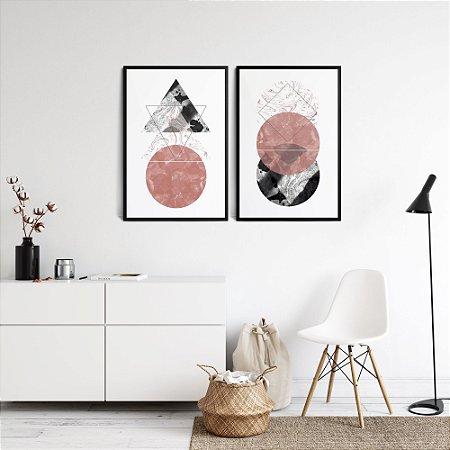 Kit 2 Quadros Sala Rose & Cinza Abstratos