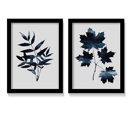 Dueto Quadros Folhas em Tons Azul Safira Minimalista