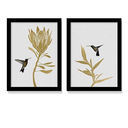 Dueto Quadros Beija-Flor Dourado