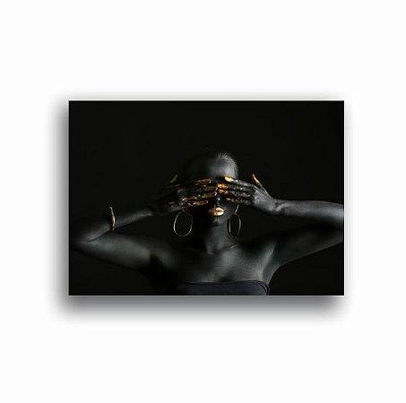 Quadro Tela - Mulher Negra Ouro Tela Canvas Quarto Sala