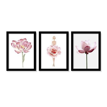 Kit 3 Quadros Flores Rose Boneca